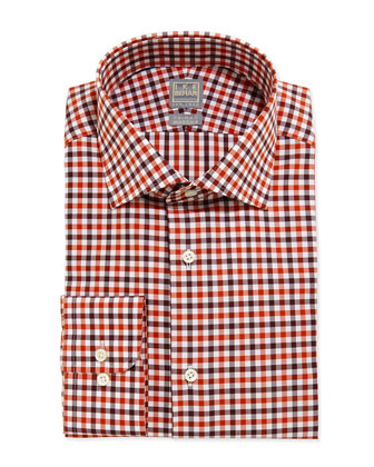 Check Dress Shirt, Orange