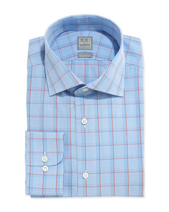 Glen Plaid Dress Shirt, Light Blue/Red