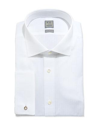 White-On-White Tonal Stripe Dress Shirt