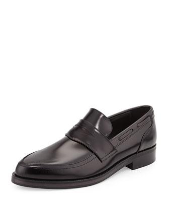 Jared Men's Point-Toe Calfskin Penny Loafer, Black