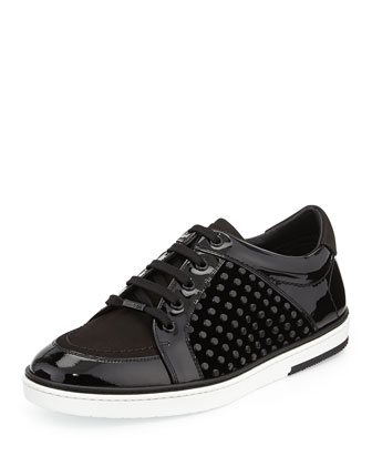 Velvet and Patent Leather Low-Top Sneaker, Black