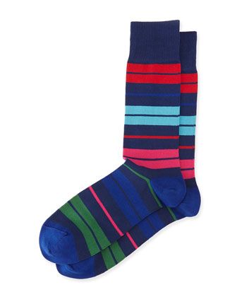 Batt Striped Socks, Navy