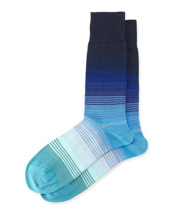 Graduated Striped Socks, Blue