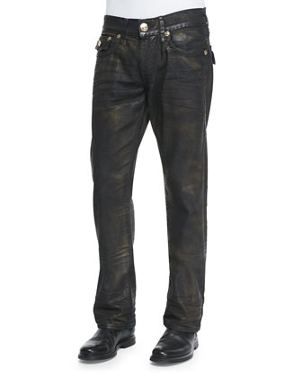 Ricky Super T Antique Bronze-Coated Jeans, Indigo