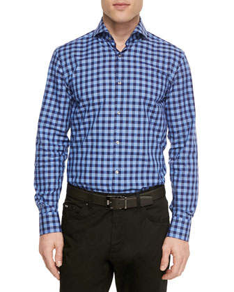 Large-Check Woven Shirt, Navy/Blue