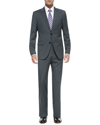 Mini Pinstripe Two-Button Suit, Gray