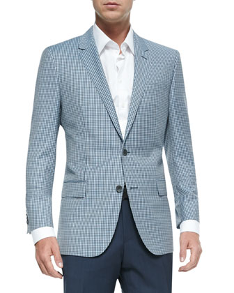 Mini-Check Two-Button Wool Sport Jacket, Contrast Oxford Dress Shirt & ...