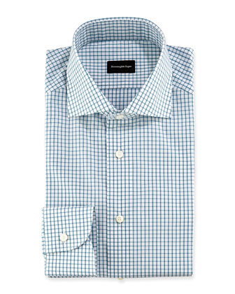 Box Check Woven Dress Shirt, White/Green