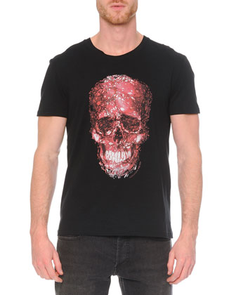 Short-Sleeve Skull Graphic T-Shirt & Faded-Wash Stretch Denim Jeans