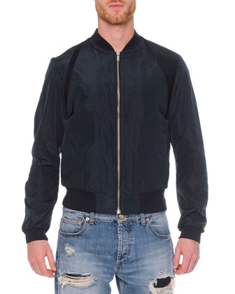 Harness Zip Bomber Jacket, Navy