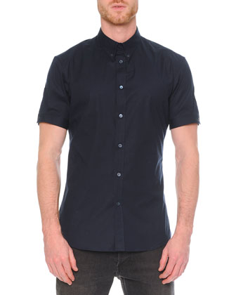 Short-Sleeve Button-Down Shirt, Navy