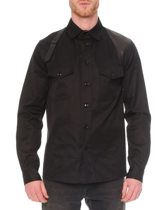Leather Harness Long-Sleeve Shirt, Black