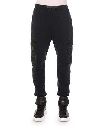 Python-Print Cotton Cargo Sweatpants, Black