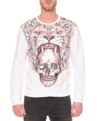 Lion/Skull-Printed Crewneck Sweatshirt & Faded-Wash Stretch Denim Jeans