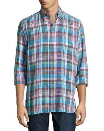 Crawford Plaid Long-Sleeve Shirt, Blue