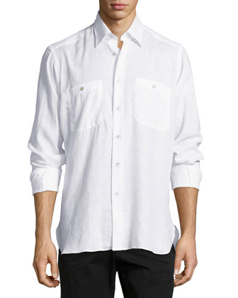 Sante Fe Long-Sleeve Linen Shirt, White