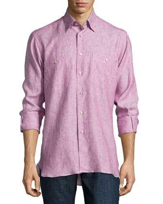 Sante Fe Long-Sleeve Linen Shirt, Berry