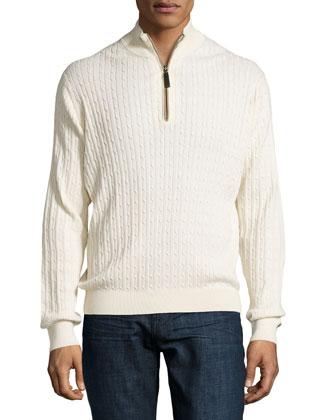 Quarter-Zip Cable-Knit Sweater, Cream