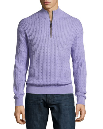 Quarter-Zip Cable-Knit Sweater, Purple