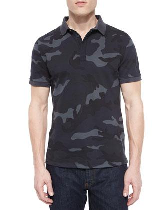 Camo-Print Pique Polo Shirt, Navy