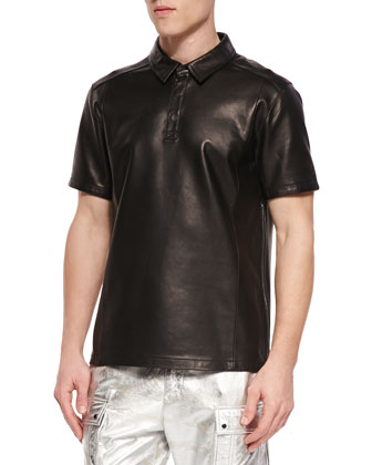 Short-Sleeve Leather Polo Shirt