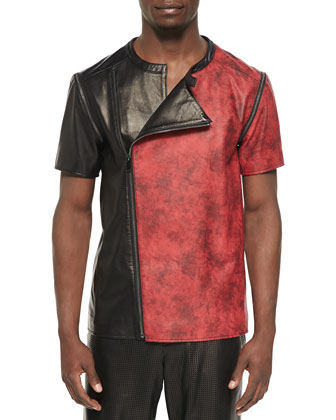 Asymmetric Leather Jacket, Black/Red