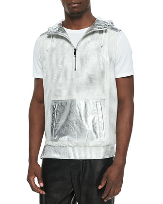 Waffle-Perforated Leather Vest, Silver