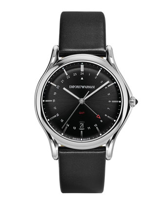 GMT Watch with Leather Strap, Black