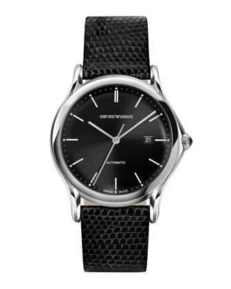 Swiss-Made Automatic Watch with Lizard Strap, Black
