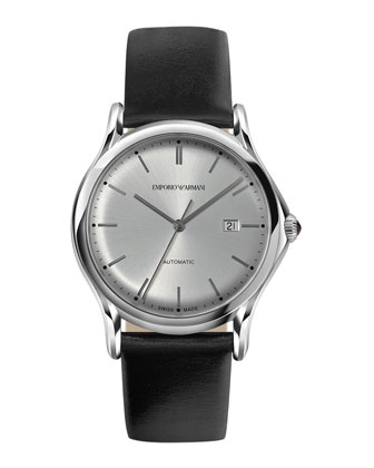 Automatic Watch with Leather Strap, Silver