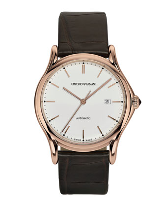 Automatic Watch with Brown Alligator Strap, Rose Golden