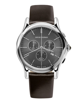 Quartz Chronograph Watch with Brown Leather Strap