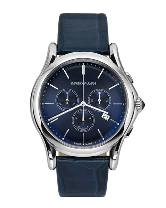Quartz Chronograph with Blue Alligator Strap