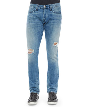 M5 McQueen Slim Distressed Jeans, Light Blue