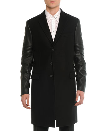 Wool & Leather Moto Long Coat, Black