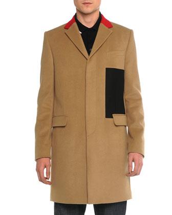 Color Block Wool Topcoat, Cuban Short-Sleeve Polo & Raw Slim Denim Jeans ...