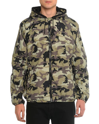 Nylon Camo-Print Hooded Jacket, Short-Sleeve Tee with 17 Camo-Print Graphic ...