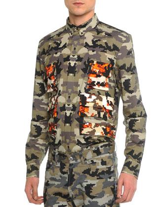 Camo-Print Long-Sleeve Shirt, Khaki