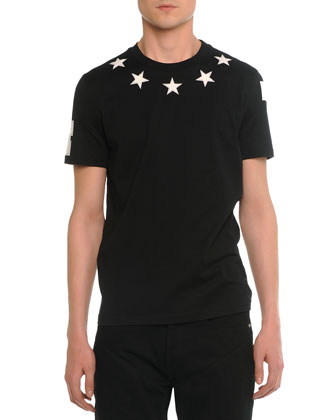 Star-Print Collared Cuban Tee, Black