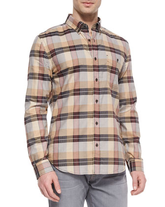 Large-Plaid Long-Sleeve Shirt, Tan/Black
