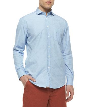 Brooks Dot-Print Long-Sleeve Shirt, Light Blue