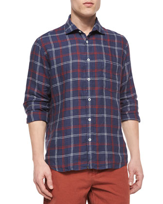 Windowpane Long-Sleeve Linen Shirt, Navy/Red/White