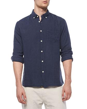 Jonathon Solid Long-Sleeve Linen Shirt, Navy