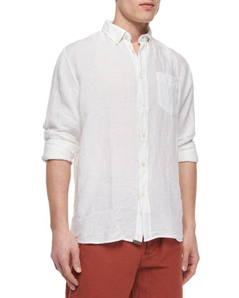 Jonathon Solid Long-Sleeve Linen Shirt, White