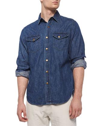 Long-Sleeve Denim Shirt & Ashland Five-Pocket Pants