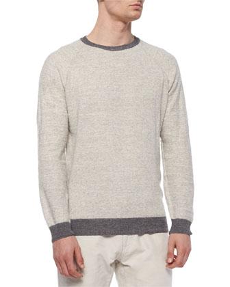 Cotton/Merino Raglan Crewneck Sweater, Dark Gray