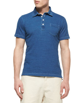 Denim-Look Polo Shirt, Blue