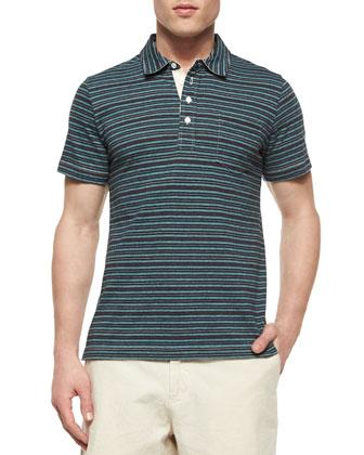 Pensacola Striped Jersey Polo Shirt, Blue Pattern