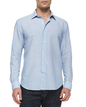 Micro-Striped Linen-Blend Shirt, Light Blue