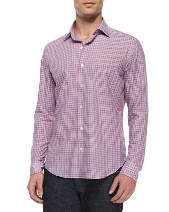 Gingham Woven Long-Sleeve Shirt, Medium Pink